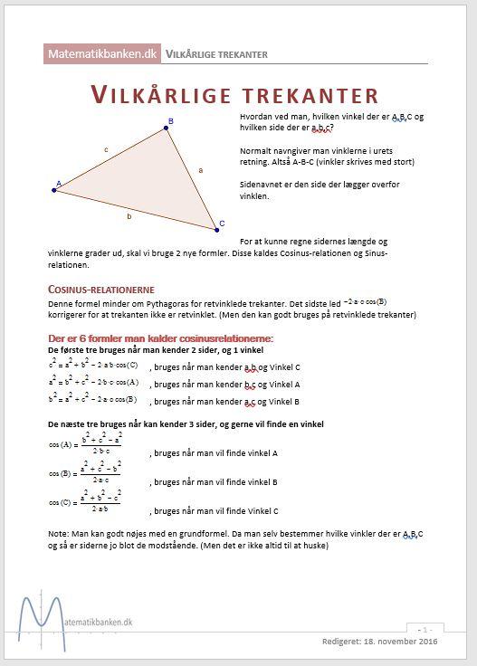 formler til matematik a uden hjælpemidler